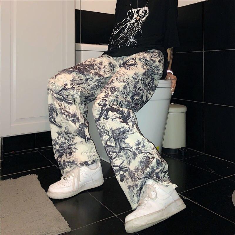 Cool Punk Pants Women Casual Joggers High Waist Loose Female Hip Hop Trousers Korean Punk Pants Funny Capri Streetwear Women