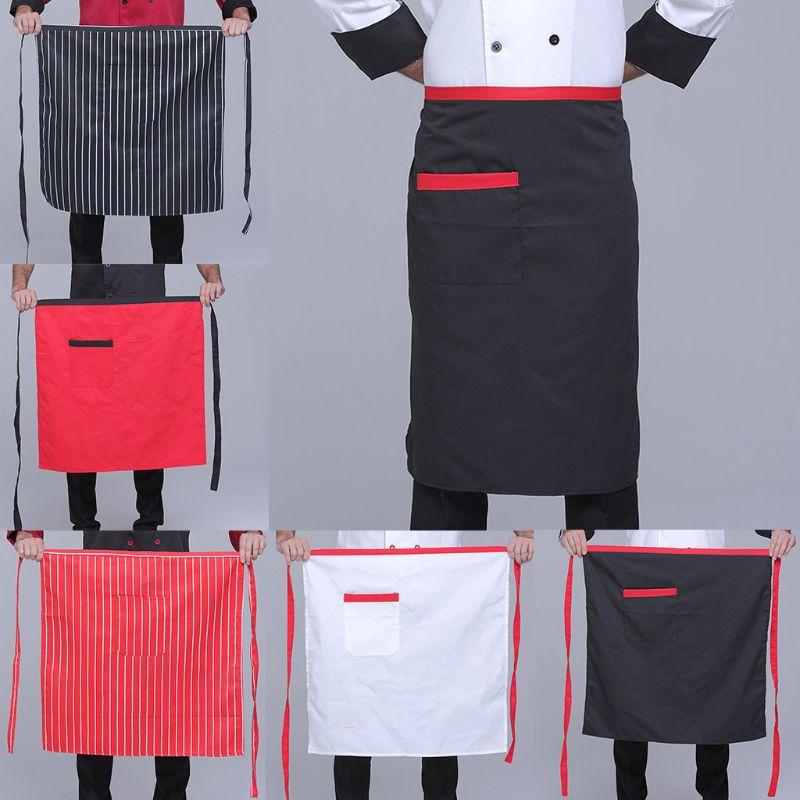 68x68cm Men Women Solid Color Stripes Half Short Apron With Pocket Long Ties Unisex Casual Chef Baker Waiter Waitress Apron