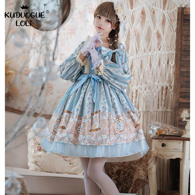 Japanese Sweet Lolita Dress Vintage Lace Bowknot Cute Printing Blue Dress Victorian Kawaii Girl Gothic Princess Women Clothes