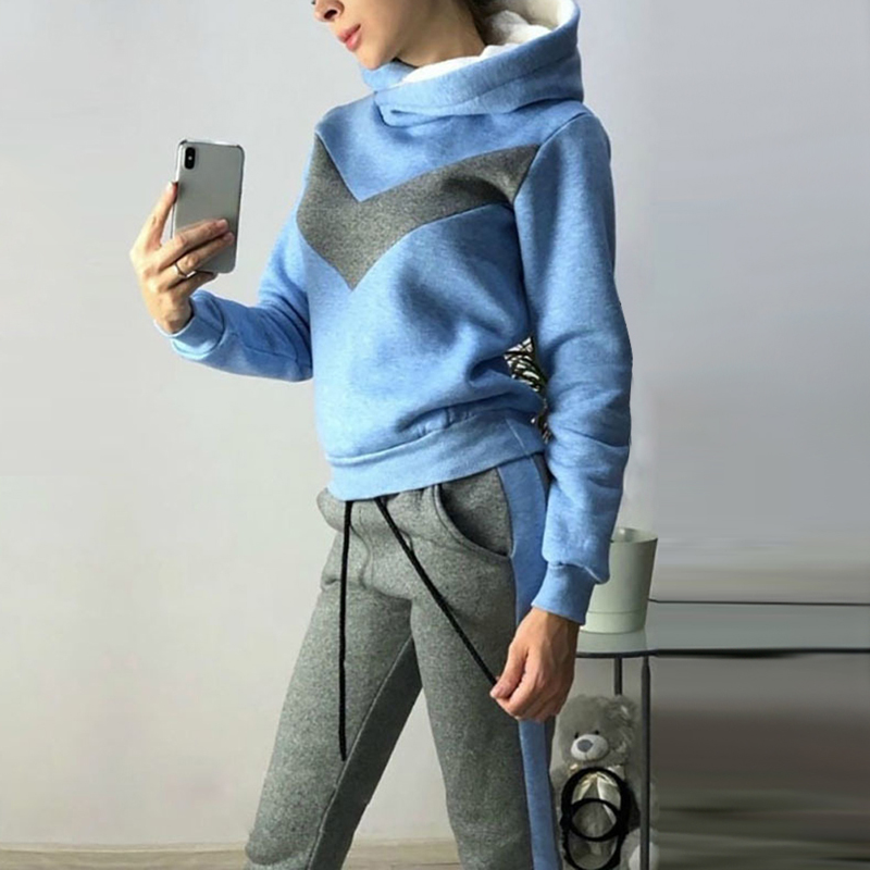 Winter Hoodies Sports Suits Coat Suits Plus Velvet Lace Up Pants Fleece Women Running Sportswear Warm Tracksuit Thicken Clothing