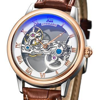 Transparent Skeleton Automatic Mechanical Watch Men Rose Gold Black Turbillon Brown Watch Genuine Leather Male Tourbillon Clock
