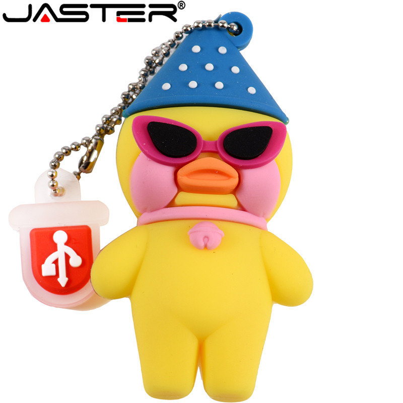 JASTER Cartoon Yellow Hyaluronic Acid Duck USB Flash Drive Cafe Mimi 64GB 16GB 32GB 4GB USB2.0 Pendrive Memory Stick Gift U Disk