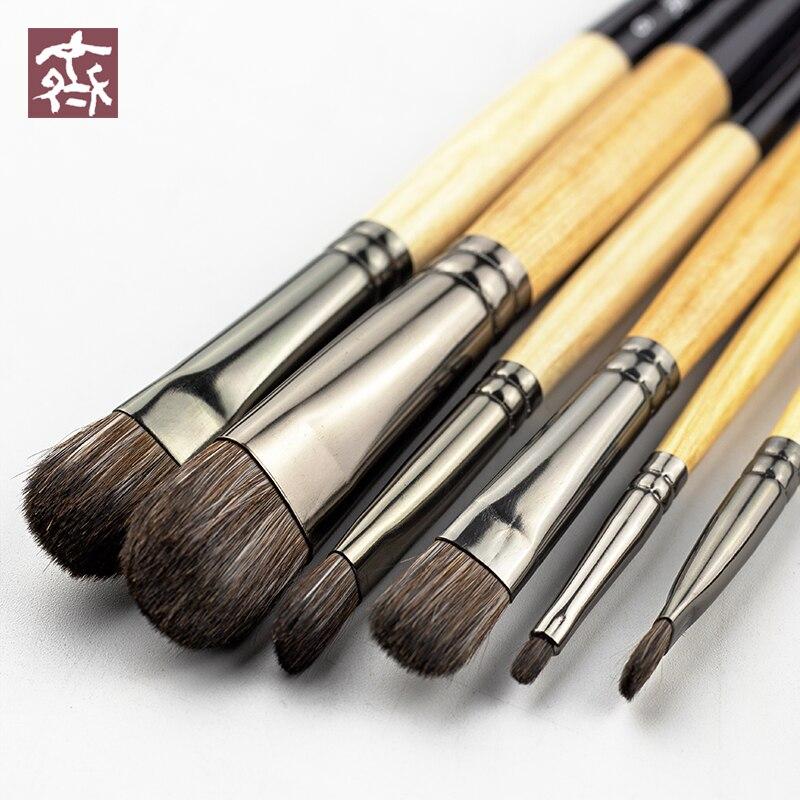 6pcs macio cabelo squirre aquarlle artistic paint brush set para acrilico pintura a oleo rodada cabeca