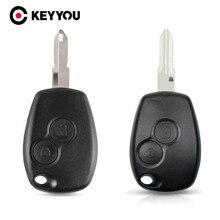 KEYYOU 2 Button Remote Car Key Case Shell For Renault Megane Modus Espace Laguna Duster Logan Clio Kango For NISSAN ALMERA