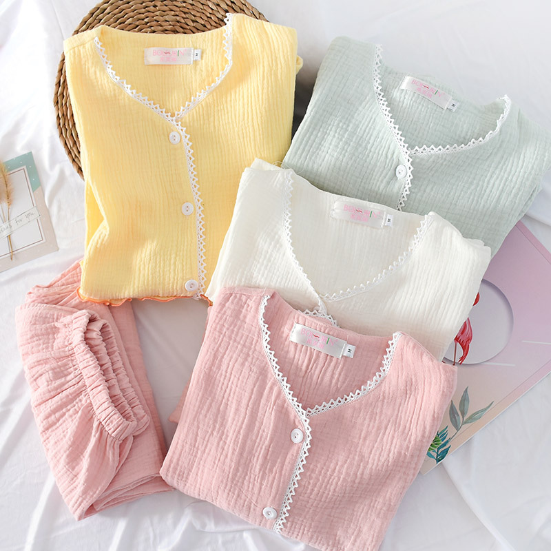 Qweek Cotton Pajamas Women Loungewear Sleepwear Set Long Sleeve Night Suit For Women Homewear Women Pijama Thin Pj Set Pyjamas