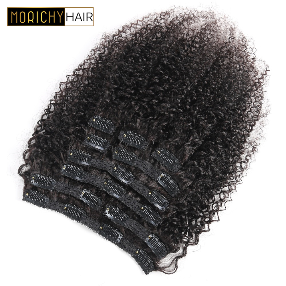 Morichy afro kinky encaracolado brasileiro remy grampo de cabelo-em extensões de cabelo humano 120 gramas/conjunto clip-na cabeça cheia cor preta natural