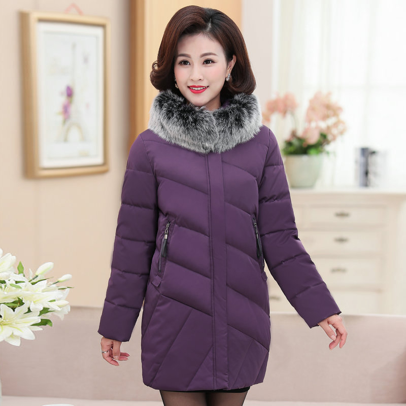 Winter Women Puffer Hooded Jackets Purple Red Black Puff Parkas Fur Hood Design Warm Quilted Coats Female Wadded Outerwear 2019