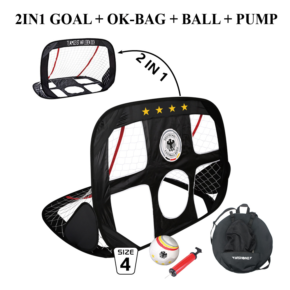 WISHOME 2in1 Pop Up Football Goal Soccer Goal Set Portable Kids Futball Gate Soccer Net With Football Bag Sport Toys Garden Game