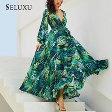 Seluxu Long Sleeve Dress Green Tropical Beach Vintage Maxi Dresses Boho Casual V Neck Belt Lace Up Tunic Draped Plus Size Dress футболка sportmax code sportmax code sp027ewbsxp7
