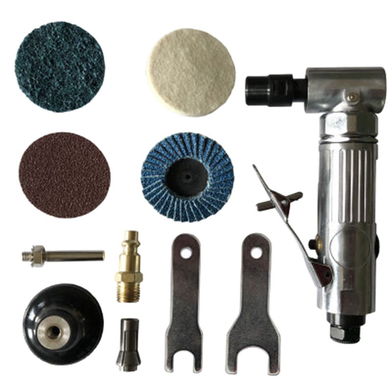 1/4 inch Air Angle Die Grinder 90 Degree Pneumatic Grinding Machine Cut Off Polisher Mill Engraving Tools Set With Spanner Wrenc|Grinders| |  - title=