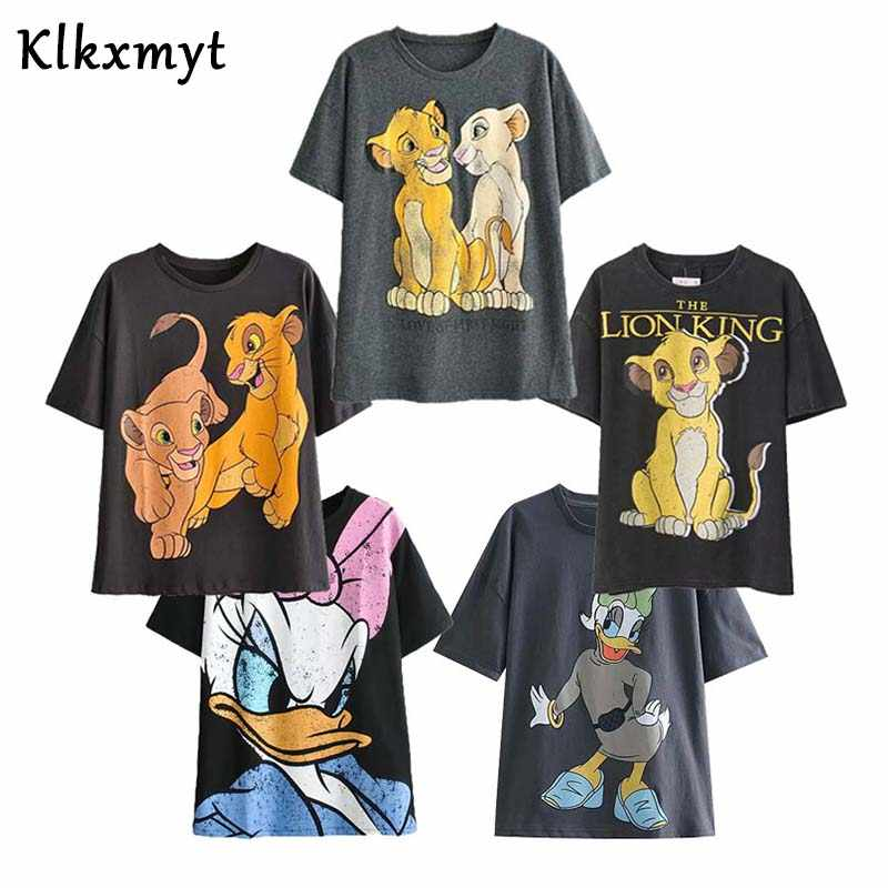 T-shirt da donna estate 2020 moda Vintage Cartoon Lion King stampa manica corta o-collo T-shirt in cotone Harajuku top allentati femminili