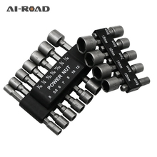 цена на 9Pcs 1/4 Hex Shank Power Nut Driver Drill Bit Metric Socket Wrench Screw 5-13mm  Nut Driver Set Socket Adapter