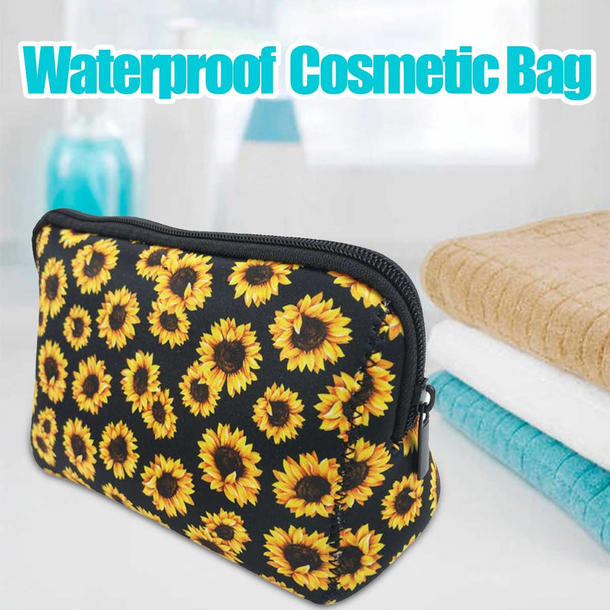 Waterproof Sunflower Travel Cosmetic Bag Makeup Case Women Zipper Make Up Handbag Organizer Storage Pouch Toiletry Wash Bag