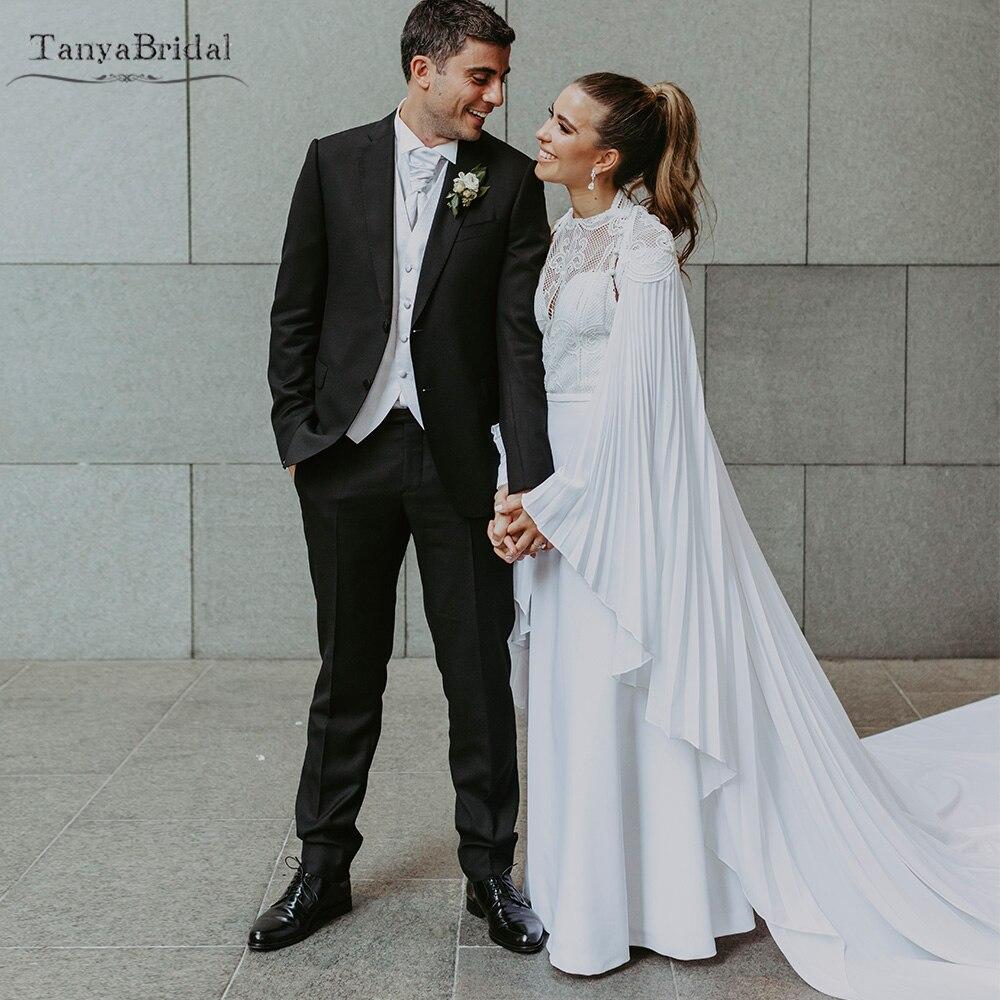 Mermaid Halter Wedding Dresses Elegant Sleeveless Bridal Gowns Beach Noivas With Cape   DW2458