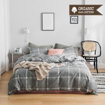Bed Linen Set European Stripe Style Light Luxury Bed Sheet Quilt Cover Pillowcase 3-4pcs 100% Cotton Bedding Set