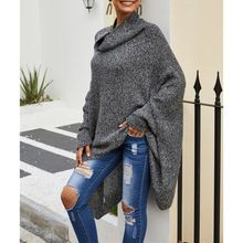 Осенне-зимний свитер-накидка серый пуловер с высоким воротником длинный свитер шаль летучая мышь рубашка плащ вязаная куртка Y