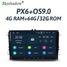 """PX6 шесть ядер """" Android 9,0 4 Гб ram Автомобильный плеер RDS радио gps карта для VW Tiguan Jetta Passat Polo Golf Skoda Superb Octavia"""