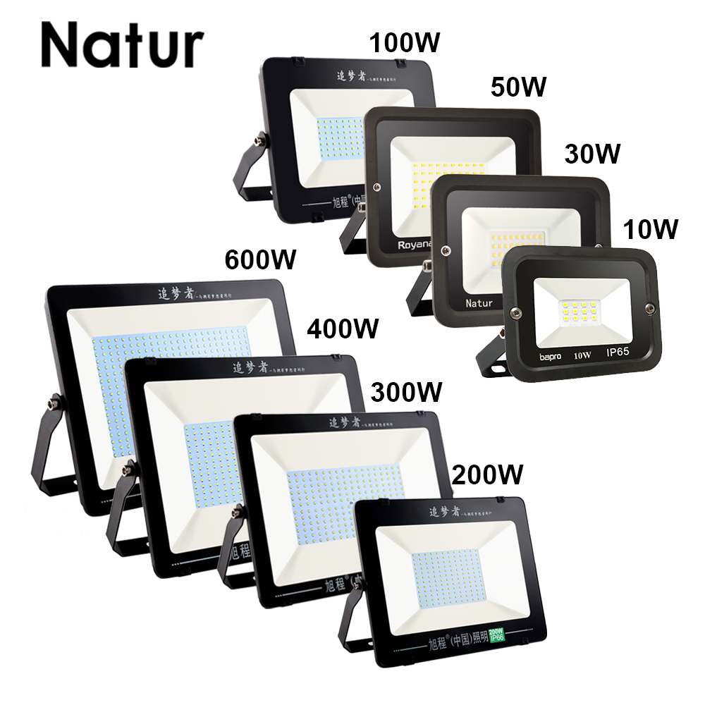 Ultra-thin 10W 30W 50W 100W 200W 300W 400W 600W LED Flood Light 220V Floodlight Spotlight IP66 Waterproof Outdoor Garden Lamp