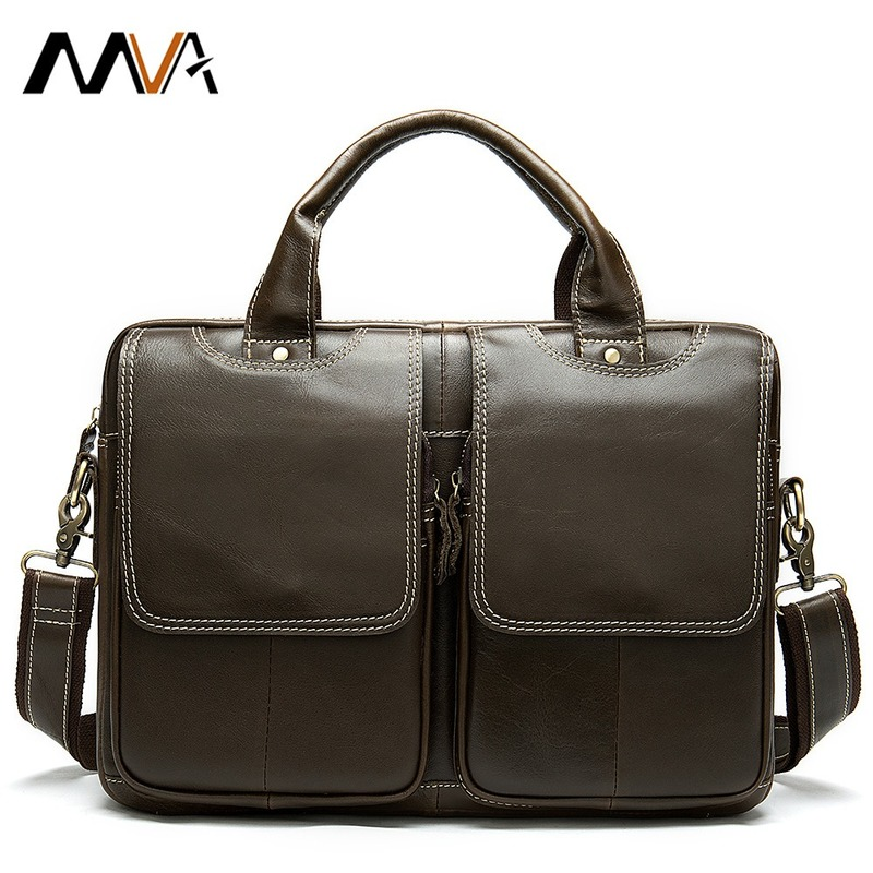 Men's Retro Vintage Handbag Business Travel Men Briefcase Cow Genuine Leather Messenger Shoulder Bags 14 Inch Laptop Office Pack