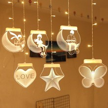 Creative 3D theme night light decoration LED curtain light USB power hanging magic lights for family gathering window decoration