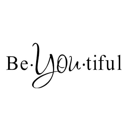 1 X Be you tiful. PVC wall art Inspirational and saying home decor decal sticker(black)25*60cm