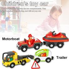купить Simulation Trailer And Motorboat Toy Car Remote Control Car Toy Thomas And Friends Wooden Track Train Toys For Children недорого