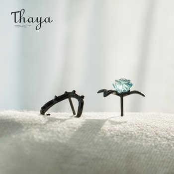 Thaya s925 Silver Thorn Blue Crystal Rose Design Black Stud Earrings for Women Asymmetry Flower Earring Female Jewelry Gift