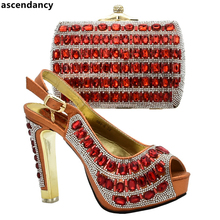 New Arrival Nigerian Party Shoe and Bag Sets Italian Shoes and Bags Set Envio Gratis African Shoes and Matching Bags Set Italian cheap ascendancy Slingbacks Thin Heels Super High (8cm-up) Fits true to size take your normal size ELEGANT CRYSTAL Summer Peep Toe