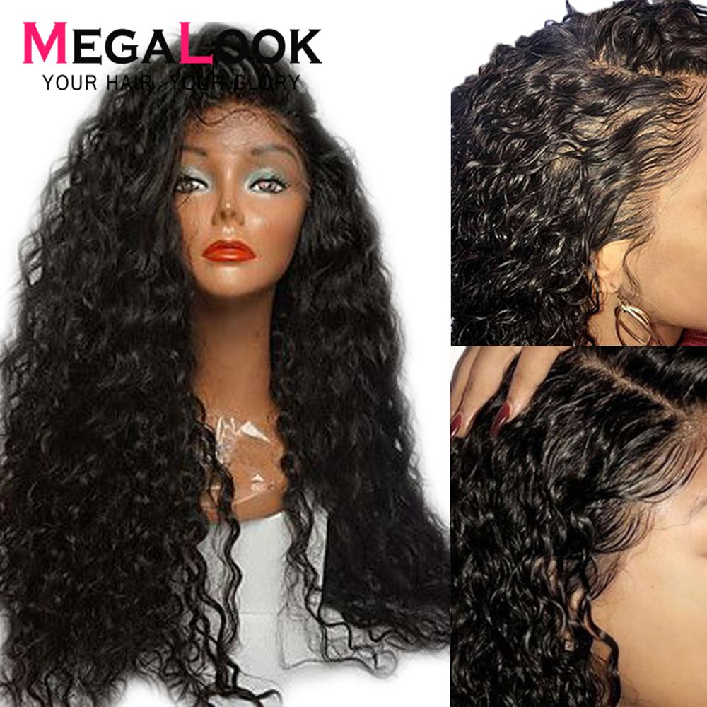 Megalook Water Wave wigs Lace Front Human Hair Wig with Baby Hair 180 Density 12 34