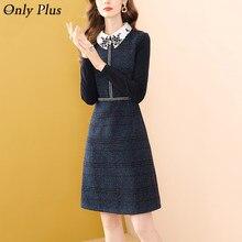 Только плюс темно-синего цвета из шерсти зимние вечерние платье трапециевидной формы женское платье с отложным воротником Rmoatic женский из т...