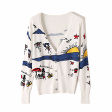 Knitted Sweater Print Cardigan Women V-Neck Long-Sleeve Winter Fashion White And Autumn