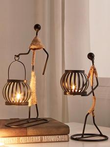 Candle-Holder Iron Home-Decoration-Accessories Halloween-Bar Kitchen Restaurant Christmas