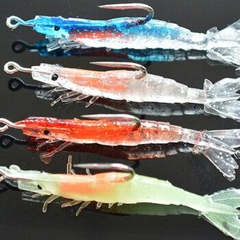 Shrimp Bait Sea Fishing Lures Bionic With Luminous Bag Lead Shrimp-shaped Soft Fake Fish Suitable for Night