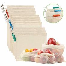 1 шт. производят многоразовые овощные сумки хлопковые, мешки сетчатые мешки на шнурке для домашней кухни для хранения фруктов и овощей Экологическая сумка