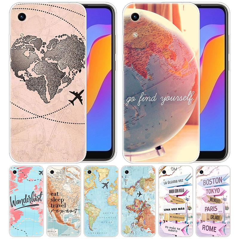luxury Soft <font><b>Silicone</b></font> <font><b>Case</b></font> Traveler world map for Huawei <font><b>Honor</b></font> 9X 8A 7A 20 Pro 7X 8X <font><b>7S</b></font> 8S 8 9 10 Lite View 20 20i 10i Play Cover image