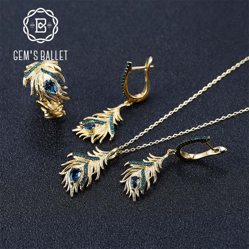 GEM'S BALLET 925 Sterling Silver Golden Feather Women's Jewelry Set Natural London Blue Topaz Gemstone Earrings Ring Pendant Set