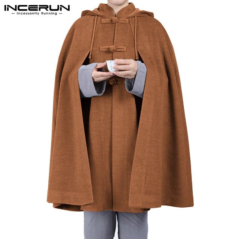 INCERUN Men Cloak Coats Hooded Cape Solid Vintage Button Loose Ponchos Retro Fleece Casual Men Trench Streetwear Jackets S-5XL 7
