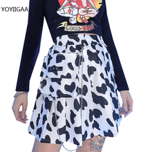 Summer Ladies Mini Skirts Cow Dot Print Women Mini Skirt Preppy Style Lady Girls Club Party Skirt Casual Short Pleated Skirts
