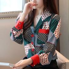 Blusas femininas shirts 2019 autumn ladies tops long sleeve women button Striped V-neck clothes chiffon blouse 0329