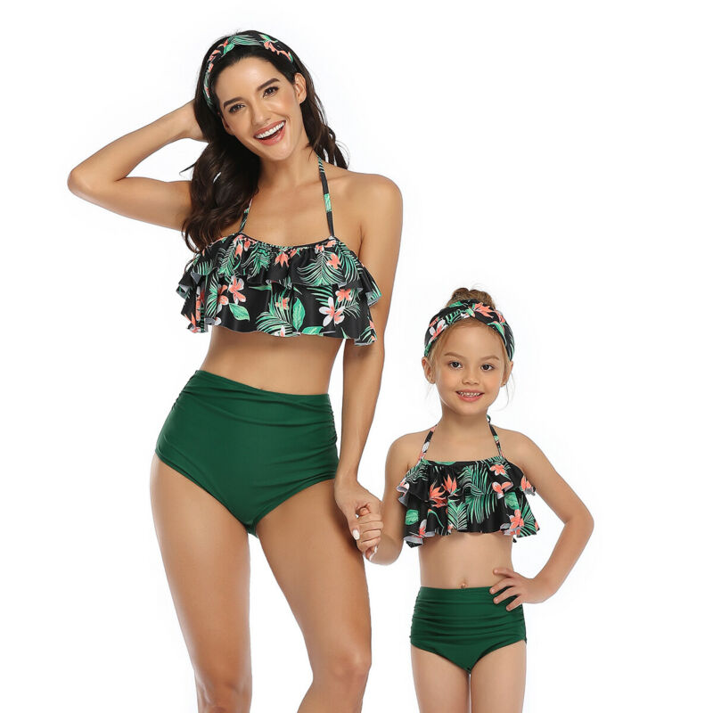 Mother Daughter Swimwear One-Piece Mommy And Me Swimsuit Family Look Matching Outfits Mom Mum Daughter Dresses Clothes