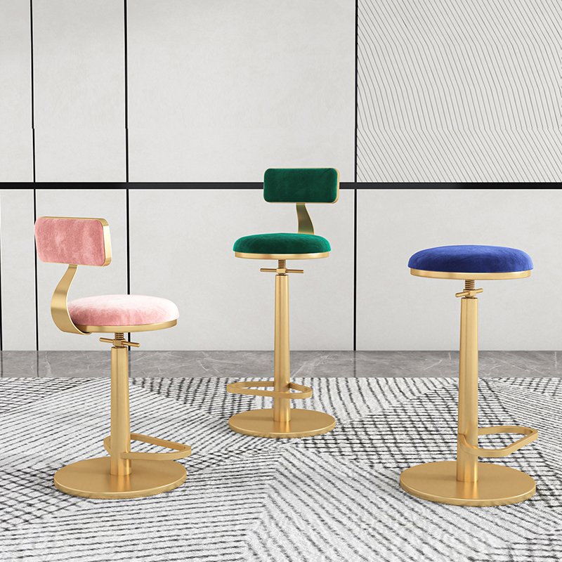 bar furniture Barstools Nordic lift high Chairs lightluxury iron Spin backrest bar chair front desk counter stool Home furniture