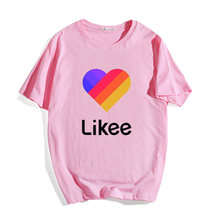 Likee T-Shirt Women Hip Hop Casual O-Neck Short sleeve Femme Unisex tees boys girls LIKEE T Shirt Russia Style Oversized T Shirt(China)