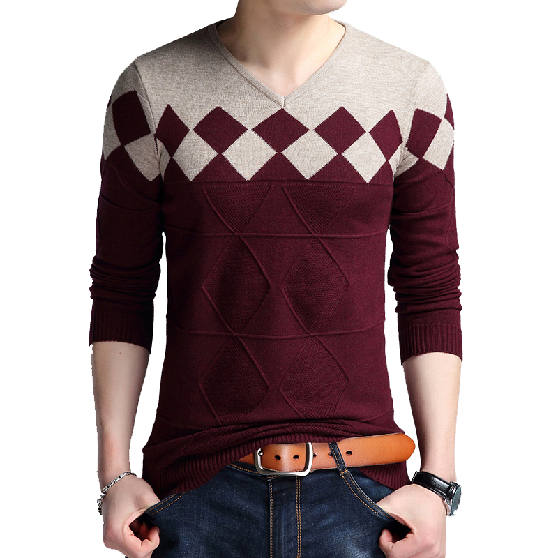 TFETTERS Men Brand Sweater Autumn Men's V-neck Sweater Collarless Sweater Wild Fashion Casual Slim Fit Sweaters Men Sweater 2019