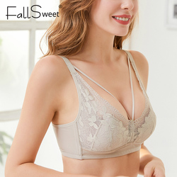 FallSweet Comfort Wireless Bra Ultra Thin Lace Bras for Women B C Cup Underwear Sexy Lingerie 34 to 42
