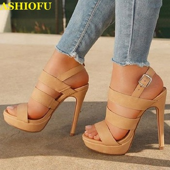 ASHIOFU Handmade Ladies High Heel Sandals Slingback Buckle Strap Party Prom Shoes Stiletto Sexy Evening Fashion Sandals Shoes