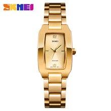 Bracelet Watches SKMEI Dial Quartz Rectangle Stainless-Steel Japanese Golden Lady Brand Luxury