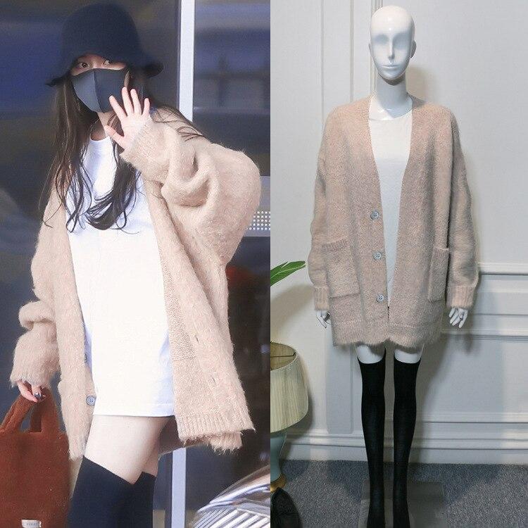 Kpop BLACKPINK ROSE Same Mohair Loose V-neck Long Cardigan Sweater Coats+white Cotton O-neck T Shirts Tops Women Two Piece Set