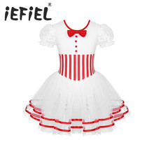 Sevimli çocuk kız noel dans kostümü dantel puf kollu buz pateni paten Baton Twirling örgü Leotard elbise