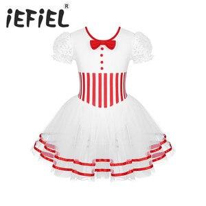 Image 1 - Śliczne dzieci dziewczyny boże narodzenie kostium taneczny koronki rękawy Puff łyżwiarstwo figurowe jazda na rolkach Baton Twirling Mesh trykot sukienka