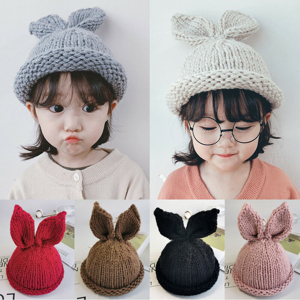 Winter Baby Kid Toddler Kids Boy Girl Knitted Rabbit Crochet Ear Beanie Warm Hat